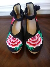 Chinese Wedges MJ Black Cute and Comfortable  Size 37 ( 16 )