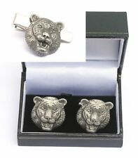 Tiger Face Cufflinks & Tie Clip Bar Slide Set Safari Gift