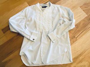 Nice! Vintage POLO RALPH LAUREN L/S button down Tuxedo Shirt cuff links LARGE