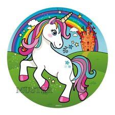 Tortenaufleger Einhorn weiß Regenbogen blau rund ca.20 cm Unicorn Geburtstag E 3