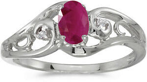 10k White Gold Oval Ruby And Diamond Ring (CM-RM2590W-07)