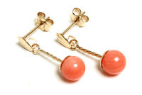 9ct Gold Coral ball drop Earrings Gift Boxed Made in UK Christmas Gift