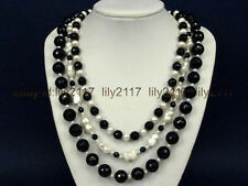 """AAA Necklace 3S Black Onyx Facet Round Beads and Pearls 17-20"""""""