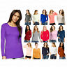 Girl Women Casual Plain Long Sleeve Stretch Scoop Neck Top T-Shirt Size 8-16