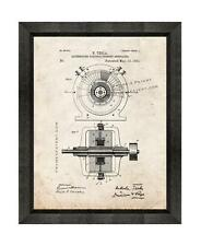Tesla Alternating Electric Generator Patent Print Old Look in a Beveled Frame