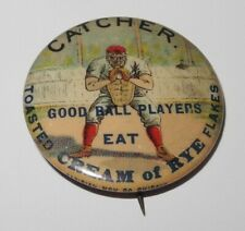 1896 PD1 Baseball Player Catcher Position Cream of Rye Flakes Advertising Pin