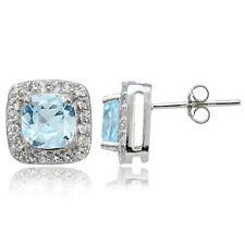 Sterling Silver 2.35ct Blue & White Topaz Cushion-Cut Stud Earrings