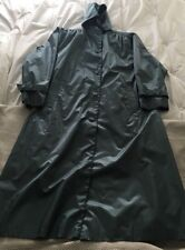 Vintage Fleet Street Hooded Trench Coat Removable Liner Teal Shiny Size 12 EUC