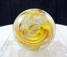 "ART GLASS CRYSTAL YELLOW AND WHITE SWIRL ROUND CANDLESTICK 2 1/8"" PAPERWEIGHT"