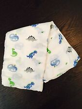 """New! Soft Bamboo Muslin Swaddle Breathable Multi Use Blanket 47""""x47""""- Dinosaurs"""