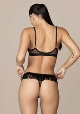 "AGENT PROVOCATEUR ""TABBIE"" BLACK BRA & RARE THONG SET IN AP 4 - UK 12/14, BNWT!"