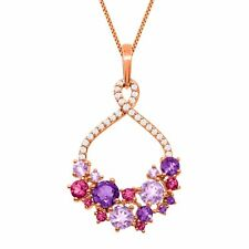 2 1/3 ct Natural Amethyst &Tourmaline Pendant in 18K Rose Gold-Plated SS