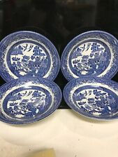 "Lot Of 4 Vintage Blue Willow 8"" Soup Bowls-England"
