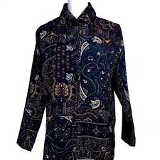BON WORTH SZ SMALL WOMENS BUTTON DOWN PAISLEY PRINT SHIRT TOP BLUSE