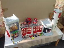 PLAYMOBIL  LARGE  FIRE  STATION  AND  VEHICLES