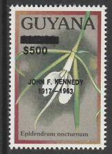 Guyana 6580 - 1990 ? Orchids opt'd JOHN F KENNEDY $500 on $15.30  unmounted mint