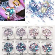 1 Box 2.5-6mm Mixed Color Round Pearl Jewelry Beads 3D Nail Art Tips Deco Gift