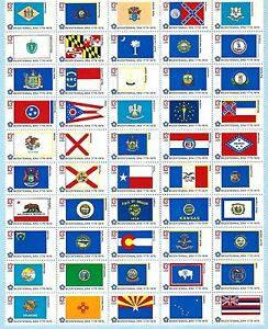 USA - MNH Block of 50  Stamps -  State Flags