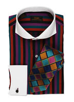 Dress Shirt by Steven Land Cutaway Collar  French Cuff -Multi/Color-DW507-MU