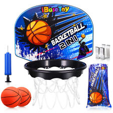 Basketball Hoop Kids Laundry Basket - Over Door Backboard Hanging Hamper Bag Net