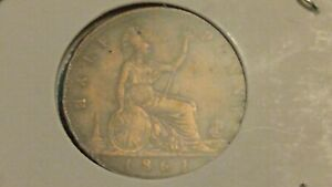 ⭐1861 HIGHER GRADE GREAT BRITAIN HALF~PENNY COIN SHIPS FREE 😃