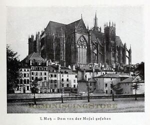 German Metz - Dom Von der Mosel Gesehen © 1921 Reprint vintage Picture