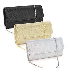Cartera de Fiesta con Glitter tartan Bolso de Mano Color Negro Plateado Dorado