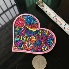 Rainbow Floral Peace Love Heart Patch Embroidered Applique Iron On Sewing DIY