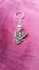 novelty skeleton playing guitar KeyRing/bag charm silver plated