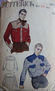 Vtg 1940s Butterick 5112 Western Cowboy Shirt SEWING PATTERN 40 chest