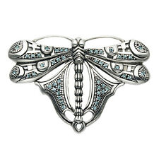 Large Sterling Silver Dragonfly Pin w/Aqua Crystal Stones - PN238
