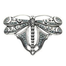 Sterling Silver Dragonfly Pin with Swarovski Aqua Crystal Stones