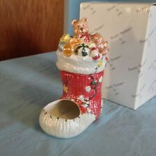 Lefton Christmas Stocking People Treater Candy Nuts Holder