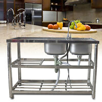 Kitchen Utility Sink 2 Compartment Stainless Steel Prep Sink 360° Faucet