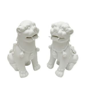 VISTA ALEGRE Portugal White Blanc De Chine  Porcelain Foo Dogs Pair of Figurines