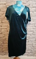 Womens Green Crushed Velvet ROMAN faux wrap Dress - UK Size 20 BNWT Christmas