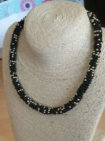 Fashion Jewellery Necklace short style black/ gold seed beads