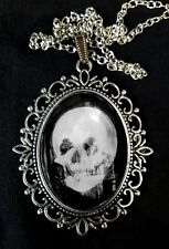 Skull Optical Illusion Lady Mirror Antique Silver Pendant Necklace Goth