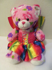"""Build a Bear Workshop Plush Pink Floral Teddy Rainbow Dress and Wings 15"""""""