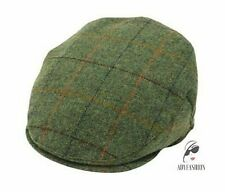 100% Wool Flat Cap Light Green Window Check Country Farmer Style GOOD QUALITY
