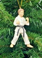 "*SAMPLE SALE* KARATE BOY RESIN CHRISTMAS ORNAMENT 4"" (WH5)"