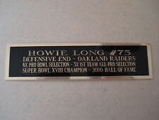 Howie Long Raiders Engraved Nameplate For A Football Mini Helmet Case 1.5 X 6