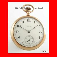 WW1 Mint 14k Gold Waltham  Pocket Watch 1918