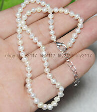 """beauty! Natural 3-4MM WHITE FRESHWATER PEARL JEWELRY NECKLACES 18"""" Extended"""