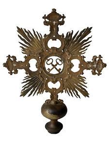 Croix de Procession Bronze Clés Saint Pierre XIX ème Antique Processional Cross