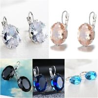 Gorgeous 925 Silver Stud Dangle Earrings Women Sapphire Wedding Jewelry A Pair