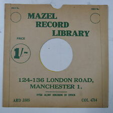 "78rpm 10"" card gramophone record sleeve / cover MAZELS RADIO MANCHESTER green"