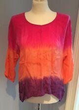 C&C CALIFORNIA Orange & Pink Cupro Tie Dye HOBO Blouse Tunic Shirt Top Sz S