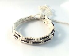 2 x White and Brown Waxed Cotton Bracelet Anklet Wristband Mens Womens Beach