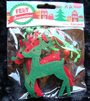 6 x Felt Reindeers Hanging Decorations Christmas Tree Hangers Red & Green